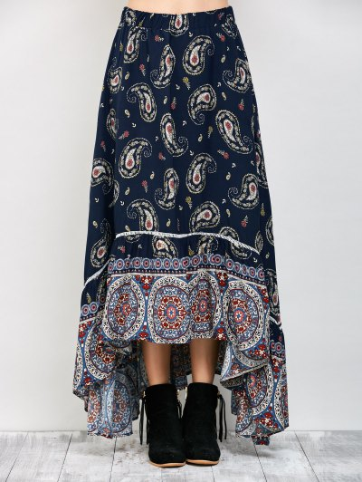 Paisley Pattern Bohemian Maxi Skirt - PURPLISH BLUE M Mobile