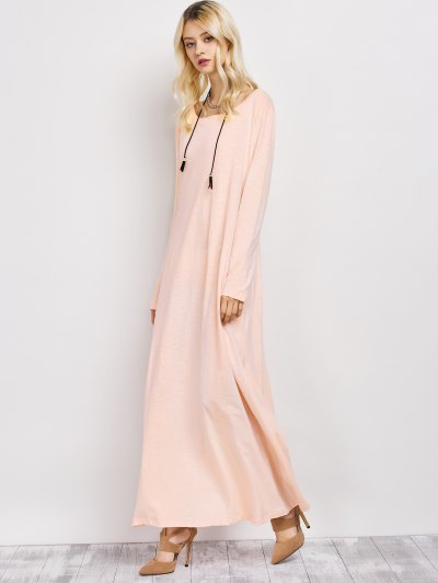 Skew Neck Long Sleeve Loose Maxi Dress - LIGHT APRICOT PINK XL Mobile