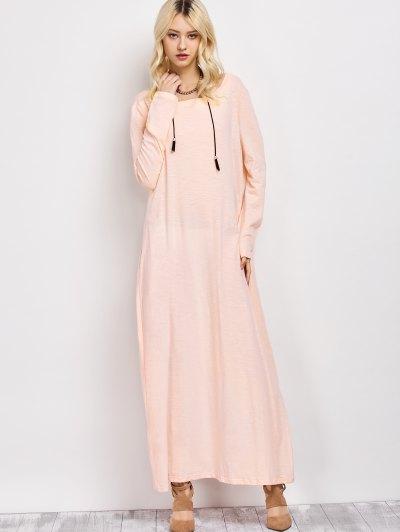 Skew Neck Long Sleeve Loose Maxi Dress - LIGHT APRICOT PINK L Mobile
