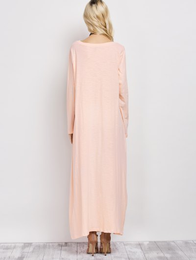 Skew Neck Long Sleeve Loose Maxi Dress - LIGHT APRICOT PINK M Mobile