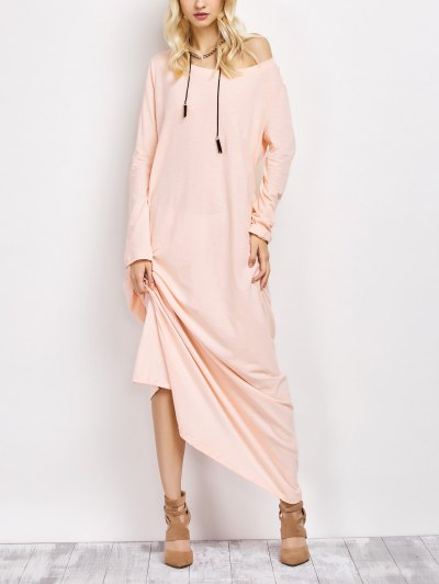 Skew Neck Long Sleeve Loose Maxi Dress - Light Apricot Pink