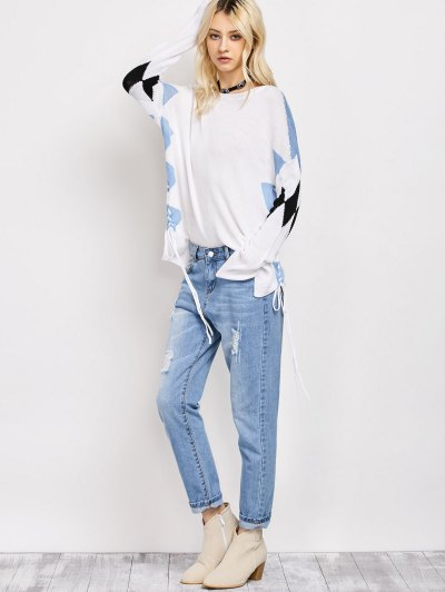 Lace Up Color Block Oversized Sweater - WHITE XL Mobile