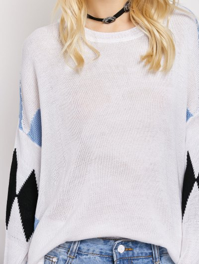 Lace Up Color Block Oversized Sweater - WHITE M Mobile