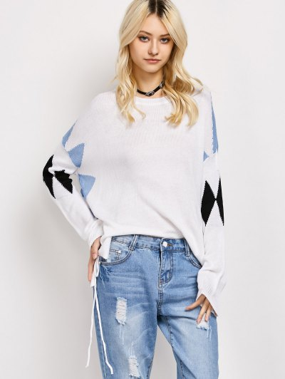 Lace Up Color Block Oversized Sweater - WHITE S Mobile