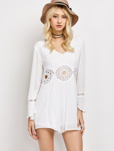 Lacework Panel V Neck Romper - WHITE XL Mobile