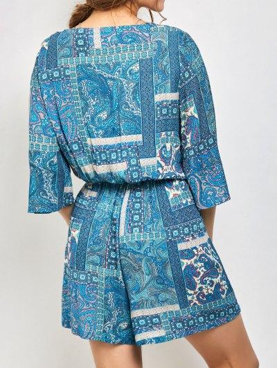 Paisley Print V Neck Lace Up Playsuit - AZURE S Mobile