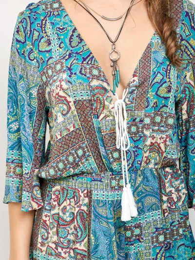 Paisley Print V Neck Lace Up Playsuit - LAKE GREEN S Mobile