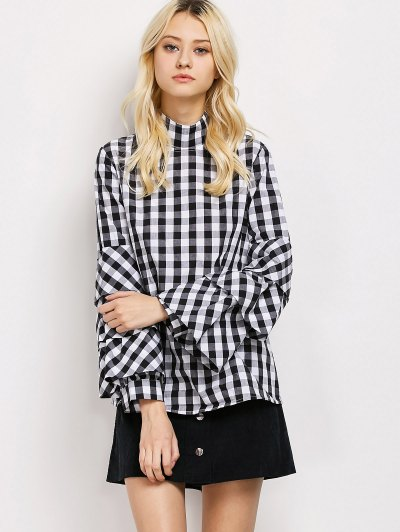High Neck Checked Blouse - PLAID XL Mobile