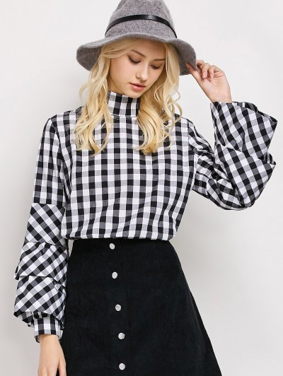 High Neck Checked Blouse - PLAID S Mobile