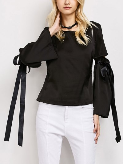 Tied Round Neck Cut Out Top - BLACK L Mobile