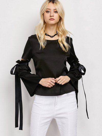 Tied Round Neck Cut Out Top - BLACK M Mobile