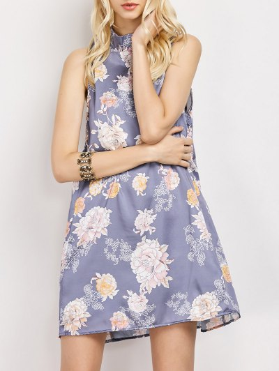 Sleeveless Flower Swing Dress - FLORAL L Mobile