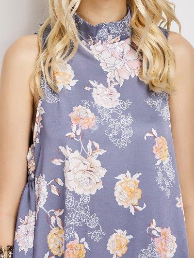 Sleeveless Flower Swing Dress - FLORAL M Mobile