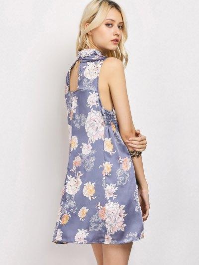 Sleeveless Flower Swing Dress - FLORAL S Mobile
