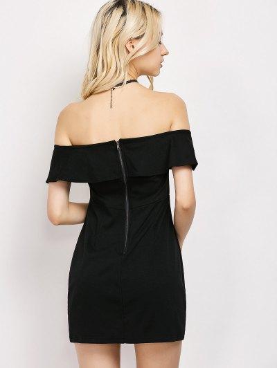 Rose Off The Shoulder Bodycon Dress - BLACK M Mobile
