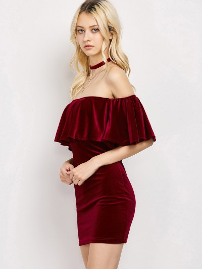 Women Velvet Off The Shoulder Bodycon Dress - WINE RED M Mobile