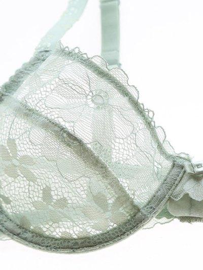 Low Cut Sheer Floral Lace Bra Set - GREEN 85D Mobile