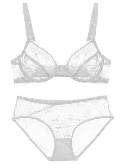 Low Cut Sheer Floral Lace Bra Set - WHITE 75C Mobile