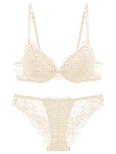 See Thru Floral Lace Panel Bra Set - OFF-WHITE 85B Mobile