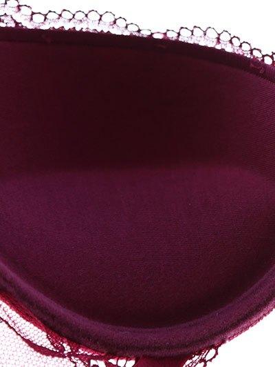 See Thru Floral Lace Panel Bra Set - RED 75C Mobile