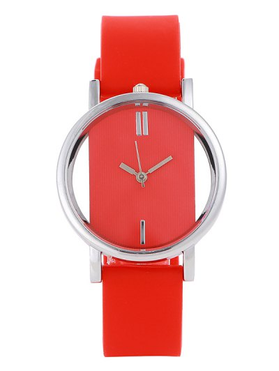 Analog Silicone Wrist Watch - RED  Mobile