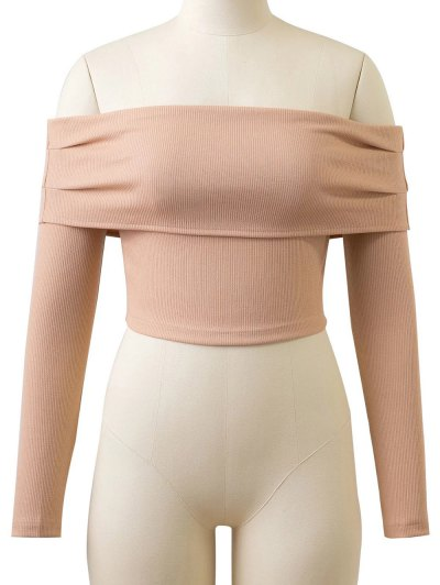 Long Sleeved Off The Shoulder Top - YELLOWISH PINK L Mobile