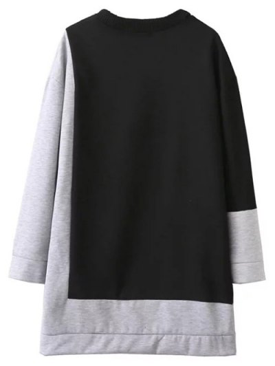 Two Tone Oversized Sweatshirt Dress - BLACK AND GREY M Mobile