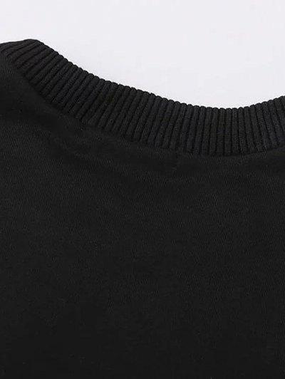 Two Tone Oversized Sweatshirt Dress - BLACK AND GREY S Mobile