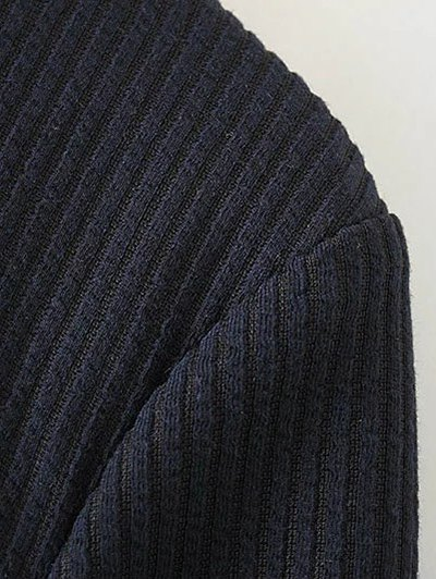 Frill Hem High Collar Blouse - PURPLISH BLUE M Mobile