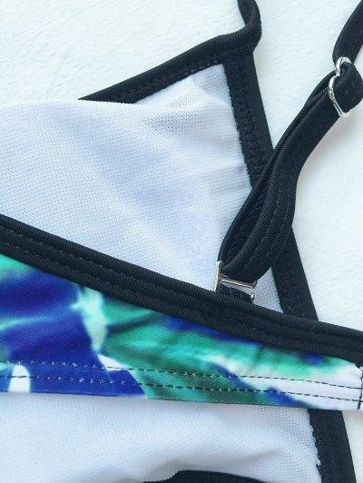 Caged Palm Print Cami Bikini - WHITE S Mobile