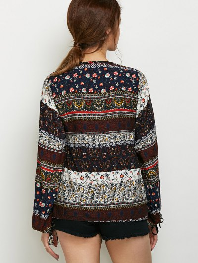 Printed Bubble Sleeve Peasant Top - MULTICOLOR 2XL Mobile