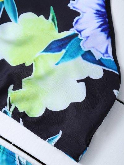 Print High Neck Bikini Set - BLACK L Mobile