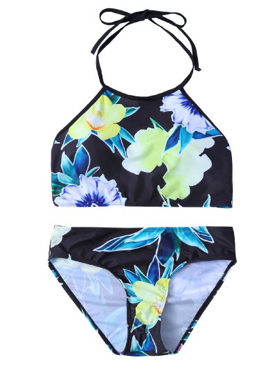 Print High Neck Bikini Set - BLACK M Mobile