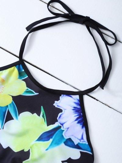 Print High Neck Bikini Set - BLACK S Mobile