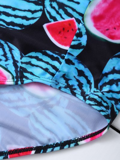 Watermelon Print High Rise Bikini - RED AND GREEN L Mobile