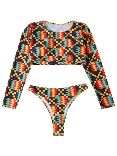 Long Sleeve High Cut Bathing Suit - MULTICOLOR L Mobile