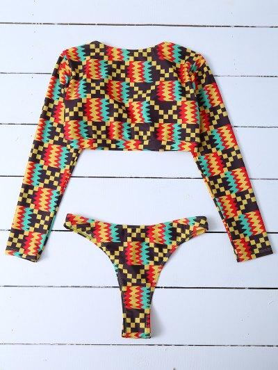 Long Sleeve High Cut Bathing Suit - MULTICOLOR S Mobile
