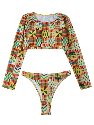 Round Neck Long Sleeves Bikini Set - MULTICOLOR L Mobile
