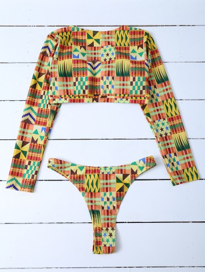 Round Neck Long Sleeves Bikini Set - MULTICOLOR S Mobile
