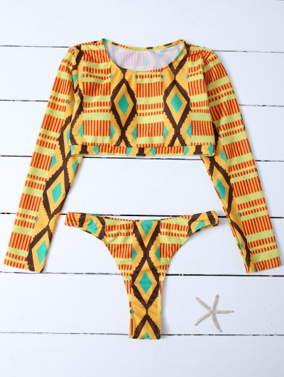Round Neck Long Sleeves Diamond Bathing Suit - MULTICOLOR L Mobile