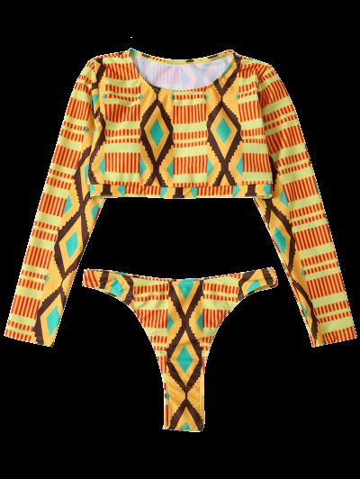 Printed Long Sleeve Bathing Suit - MULTICOLOR S Mobile