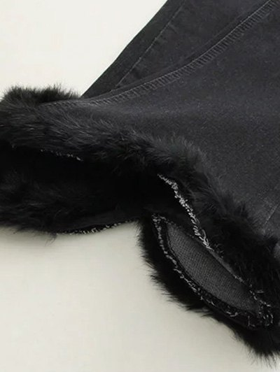 Ninth Fuzzy Flare Jeans - BLACK XL Mobile