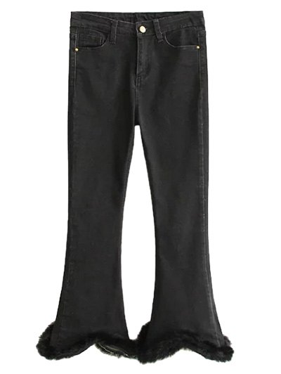 Ninth Fuzzy Flare Jeans - BLACK L Mobile