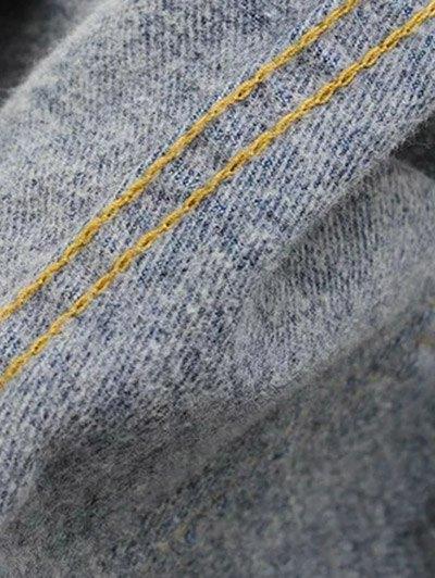Side Stripe Frayed Hem Wide Leg Jeans - BLACK L Mobile