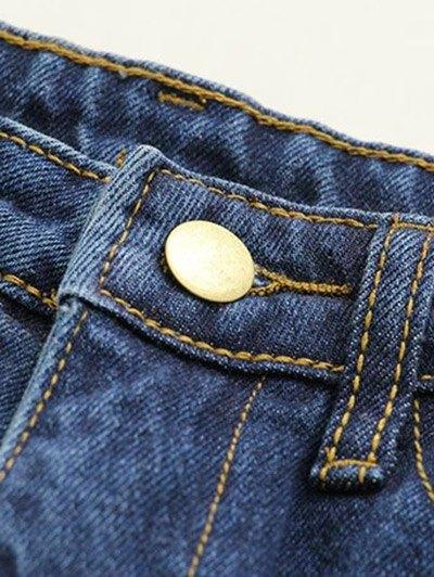 Side Stripe Frayed Hem Wide Leg Jeans - BLACK S Mobile