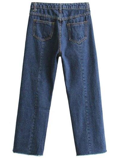 Wide Leg Applique Frayed Hem Jeans - DEEP BLUE M Mobile
