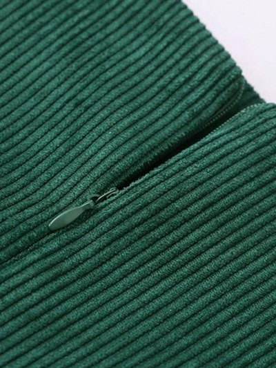 Corduroy Embroidered A-Line Skirt - GREEN L Mobile