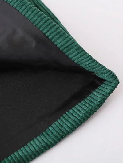 Corduroy Embroidered A-Line Skirt - GREEN M Mobile