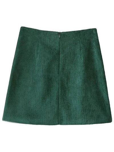 Corduroy Embroidered A-Line Skirt - GREEN S Mobile