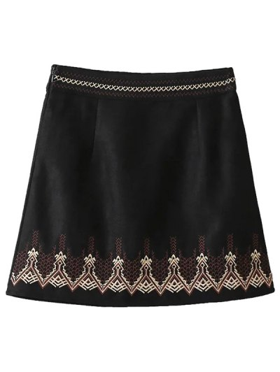 Embroidered Corduroy Skirt - BLACK L Mobile